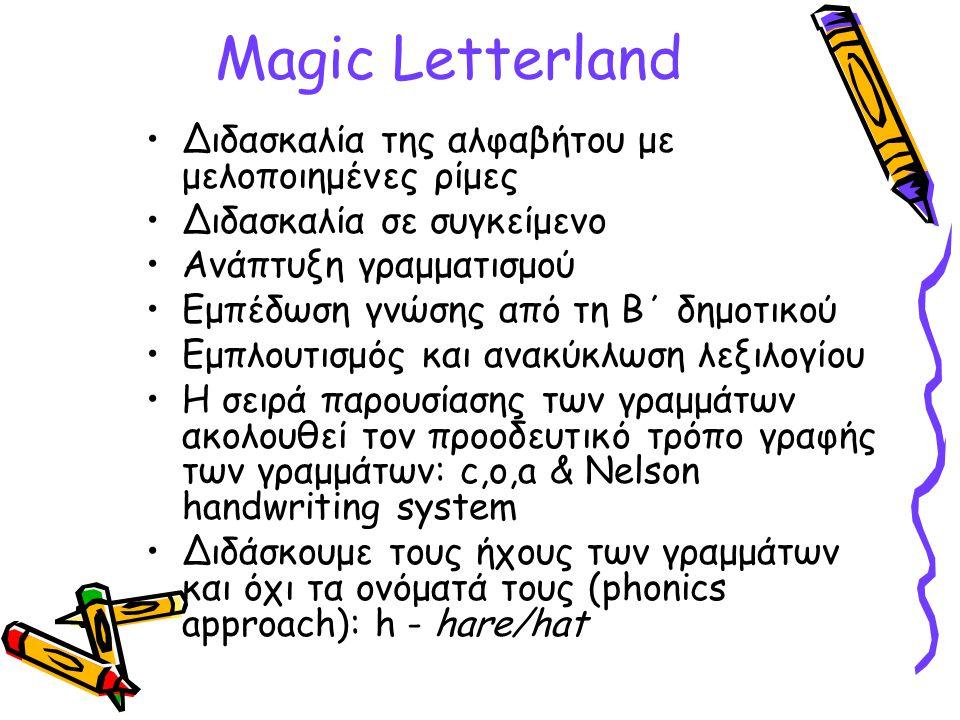 Magic Letterland Διδασκαλία της αλφαβήτου με μελοποιημένες ρίμες Διδασκαλία σε συγκείμενο Ανάπτυξη γραμματισμού Εμπέδωση γνώσης από τη Β΄ δημοτικού Εμ