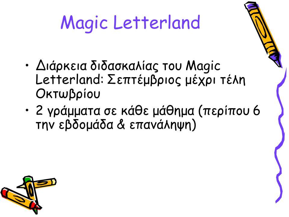 Magic Letterland Διάρκεια διδασκαλίας του Magic Letterland: Σεπτέμβριος μέχρι τέλη Οκτωβρίου 2 γράμματα σε κάθε μάθημα (περίπου 6 την εβδομάδα & επανά
