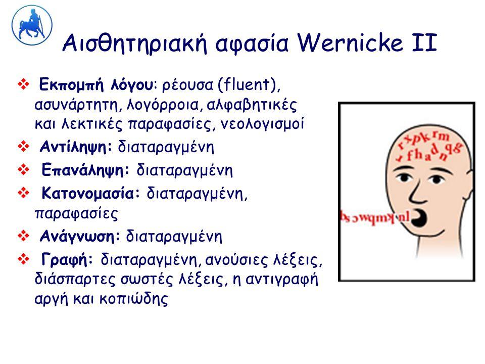 Αισθητηριακή αφασία Wernicke ΙΙ  Εκπομπή λόγου: ρέουσα (fluent), ασυνάρτητη, λογόρροια, αλφαβητικές και λεκτικές παραφασίες, νεολογισμοί  Αντίληψη: