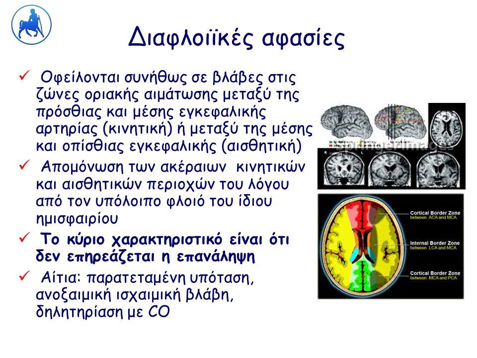 Διαφλοιϊκές αφασίες Οφείλονται συνήθως σε βλάβες στις ζώνες οριακής αιμάτωσης μεταξύ της πρόσθιας και μέσης εγκεφαλικής αρτηρίας (κινητική) ή μεταξύ τ