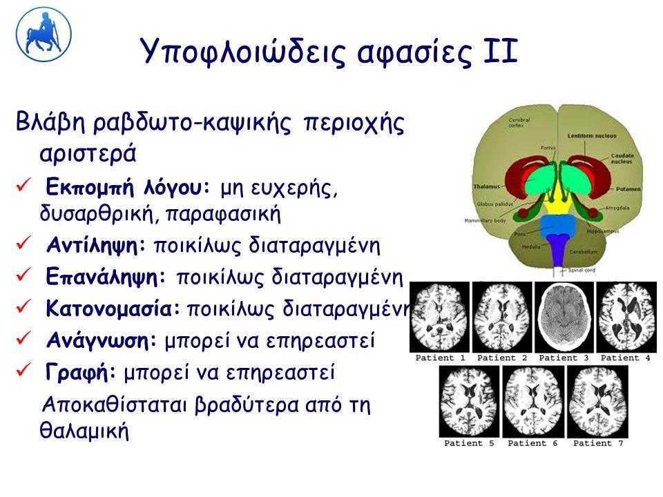 Υποφλοιώδεις αφασίες ΙΙ Βλάβη ραβδωτο-καψικής περιοχής αριστερά Εκπομπή λόγου: μη ευχερής, δυσαρθρική, παραφασική Αντίληψη: ποικίλως διαταραγμένη Επαν