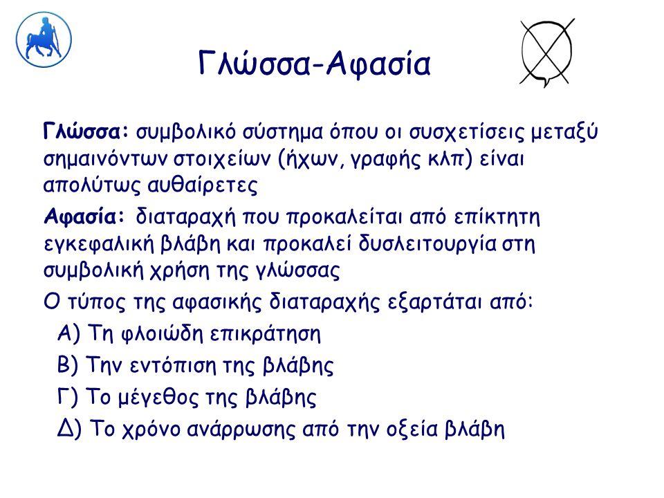Γλώσσα-Αφασία Γλώσσα: συμβολικό σύστημα όπου οι συσχετίσεις μεταξύ σημαινόντων στοιχείων (ήχων, γραφής κλπ) είναι απολύτως αυθαίρετες Αφασία: διαταραχ