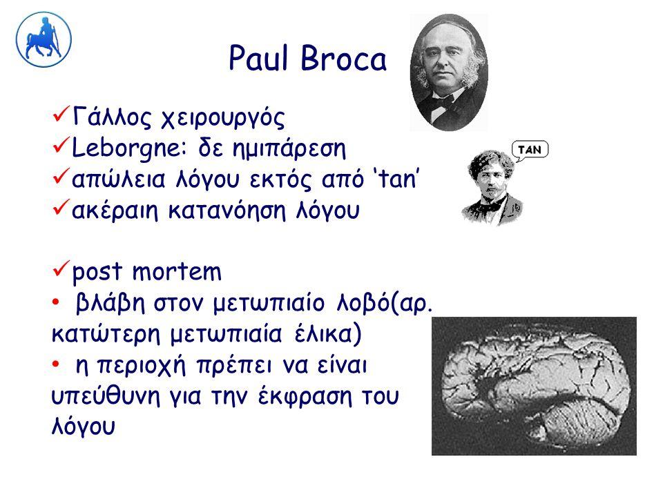 Paul Broca Γάλλος χειρουργός Leborgne: δε ημιπάρεση απώλεια λόγου εκτός από 'tan' ακέραιη κατανόηση λόγου post mortem βλάβη στον μετωπιαίο λοβό(αρ. κα