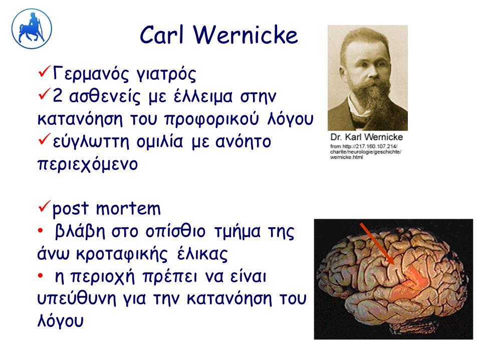 Carl Wernicke Γερμανός γιατρός 2 ασθενείς με έλλειμα στην κατανόηση του προφορικού λόγου εύγλωττη ομιλία με ανόητο περιεχόμενο post mortem βλάβη στο ο
