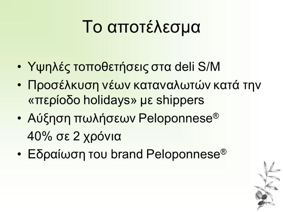 Το αποτέλεσμα Υψηλές τοποθετήσεις στα deli S/M Προσέλκυση νέων καταναλωτών κατά την «περίοδο holidays» με shippers Αύξηση πωλήσεων Peloponnese ® 40% σε 2 χρόνια Εδραίωση του brand Peloponnese ®