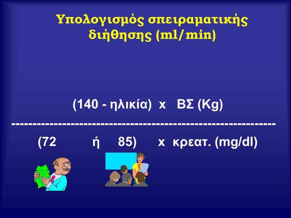 Υπολογισμός σπειραματικής διήθησης (ml/min) (140 - ηλικία) x ΒΣ (Kg) -------------------------------------------------------------- (72 ή 85) x κρεατ.
