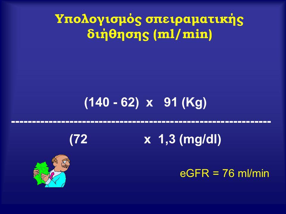 Υπολογισμός σπειραματικής διήθησης (ml/min) (140 - 62) x 91 (Kg) -------------------------------------------------------------- (72 x 1,3 (mg/dl) eGFR