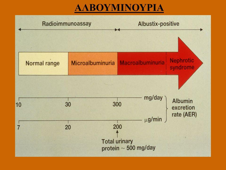 ΠΟΣΟΤΙΚΟΣ ΠΡΟΣΔΙΟΡΙΣΜΟΣ ΛΕΥΚΩΜΑΤΙΝΗΣ ΟΥΡΩΝ Κατηγορία 24ωρη συλλογή (mg/24h) 8ωρη συλλογή (μg/min) Τυχαία συλλογή (mg/g κρ.) Φυσιολογικές τιμές <30 <20 <30 Μικρολευκωματινουρία 30-300 20 - 200 30-300 Κλινική λευκωματινουρία >300 >200 >300