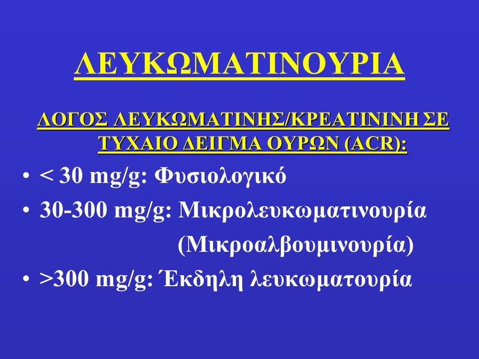 ΛΟΓΟΣ ΑΛΒΟΥΜΙΝΗΣ/ΚΡΕΑΤΙΝΙΝΗ ΣΕ ΤΥΧΑΙΟ ΔΕΙΓΜΑ ΟΥΡΩΝ Φυσιολογική απέκκριση αλβουμίνης σε 24 hrs: <30 mg Φυσιολογική απέκκριση κρεατινίνης σε 24 hrs: ~1 g (15-20 mg/kg Γ, 20-25 mg/kg A) Ανώτερος Φυσιολογικός λόγος Αλβουμίνης/Κρεατινίνη: 30 mg/1 g=30 mg/g Έκδηλη πρωτεϊνουρία: 300/1=300 mg/g