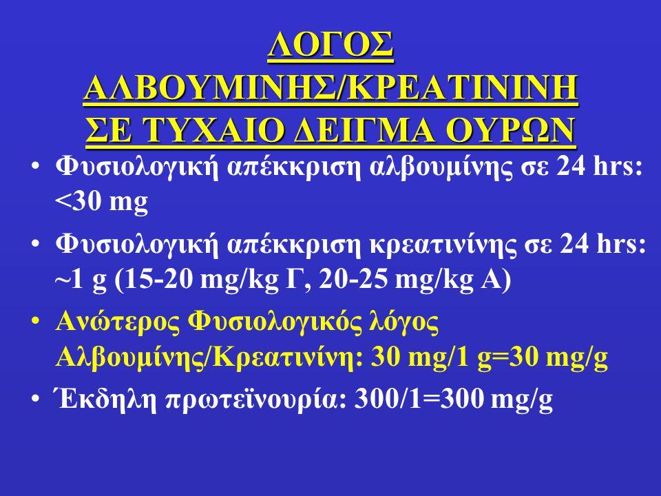 ΛΟΓΟΣ ΑΛΒΟΥΜΙΝΗΣ/ΚΡΕΑΤΙΝΙΝΗ ΣΕ ΤΥΧΑΙΟ ΔΕΙΓΜΑ ΟΥΡΩΝ Φυσιολογική απέκκριση αλβουμίνης σε 24 hrs: <30 mg Φυσιολογική απέκκριση κρεατινίνης σε 24 hrs: ~1