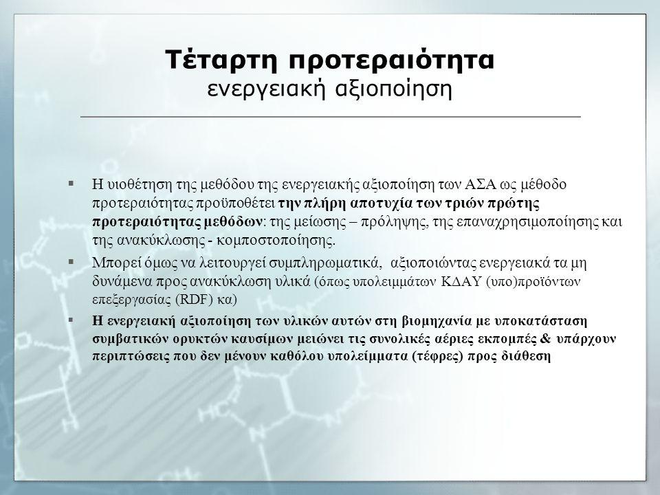 Τέταρτη προτεραιότητα ενεργειακή αξιοποίηση  Η υιοθέτηση της μεθόδου της ενεργειακής αξιοποίηση των ΑΣΑ ως μέθοδο προτεραιότητας προϋποθέτει την πλήρ