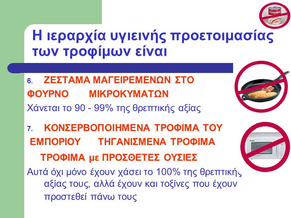 Η ιεραρχία υγιεινής προετοιμασίας των τροφίμων είναι 6.