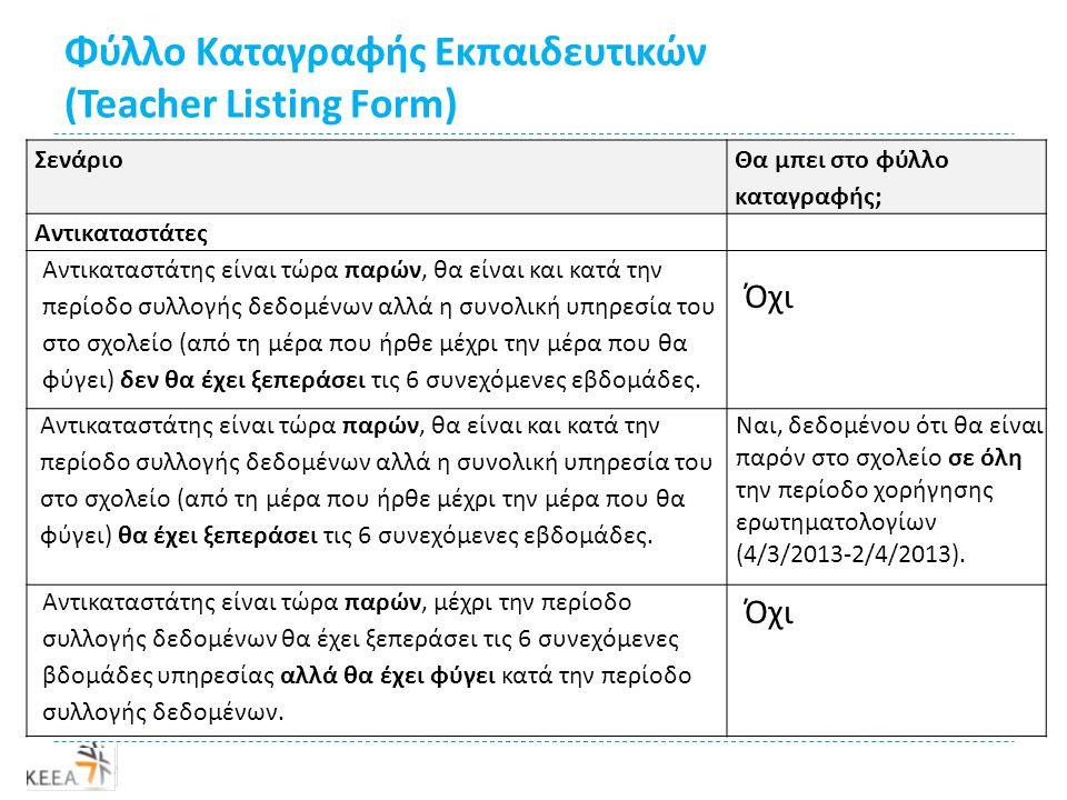 Φύλλο Καταγραφής Εκπαιδευτικών (Teacher Listing Form) Σενάριο Θα μπει στο φύλλο καταγραφής; Αντικαταστάτες Όχι Ναι, δεδομένου ότι θα είναι παρόν στο σχολείο σε όλη την περίοδο χορήγησης ερωτηματολογίων (4/3/2013-2/4/2013).