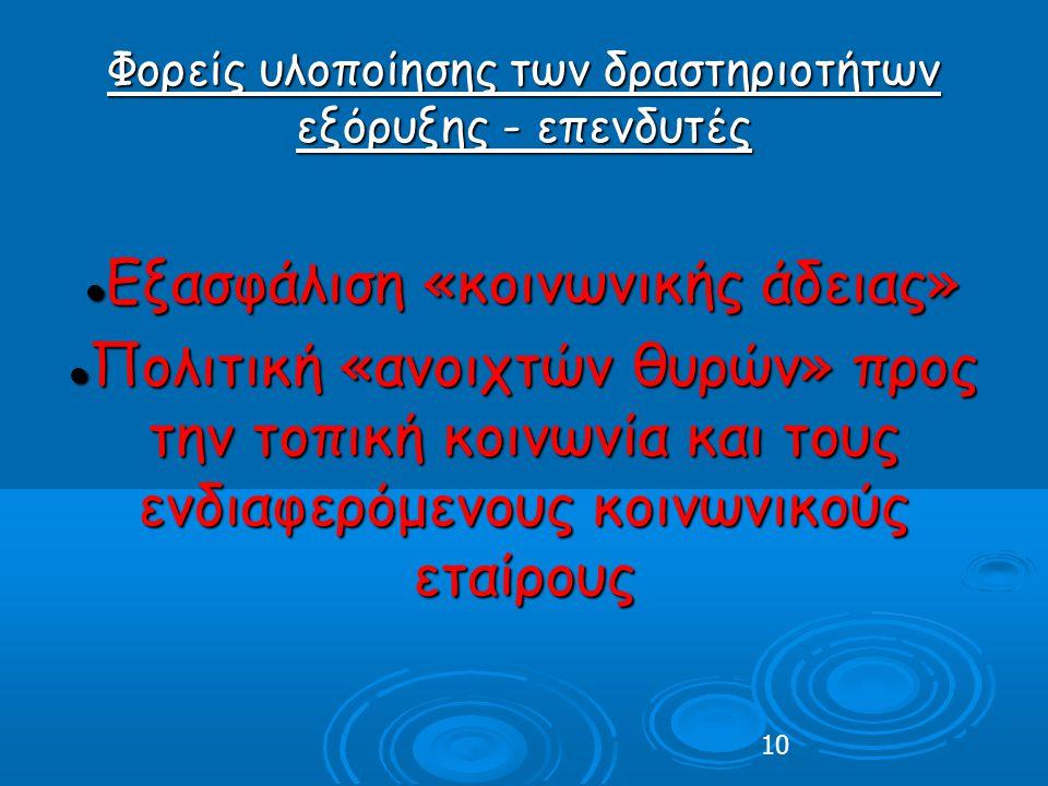 10 Φορείς υλοποίησης των δραστηριοτήτων εξόρυξης - επενδυτές Εξασφάλιση «κοινωνικής άδειας» Εξασφάλιση «κοινωνικής άδειας» Πολιτική «ανοιχτών θυρών» προς την τοπική κοινωνία και τους ενδιαφερόμενους κοινωνικούς εταίρους Πολιτική «ανοιχτών θυρών» προς την τοπική κοινωνία και τους ενδιαφερόμενους κοινωνικούς εταίρους