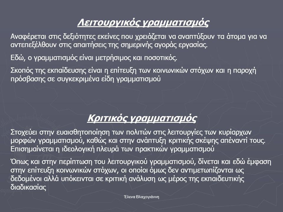 Έλενα Βλαχογιάννη Λειτουργικός γραμματισμός Αναφέρεται στις δεξιότητες εκείνες που χρειάζεται να αναπτύξουν τα άτομα για να αντεπεξέλθουν στις απαιτήσ