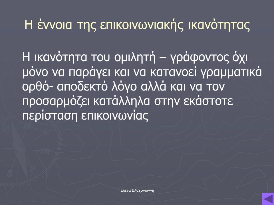 Έλενα Βλαχογιάννη Η έννοια της επικοινωνιακής ικανότητας Η ικανότητα του ομιλητή – γράφοντος όχι μόνο να παράγει και να κατανοεί γραμματικά ορθό- αποδ