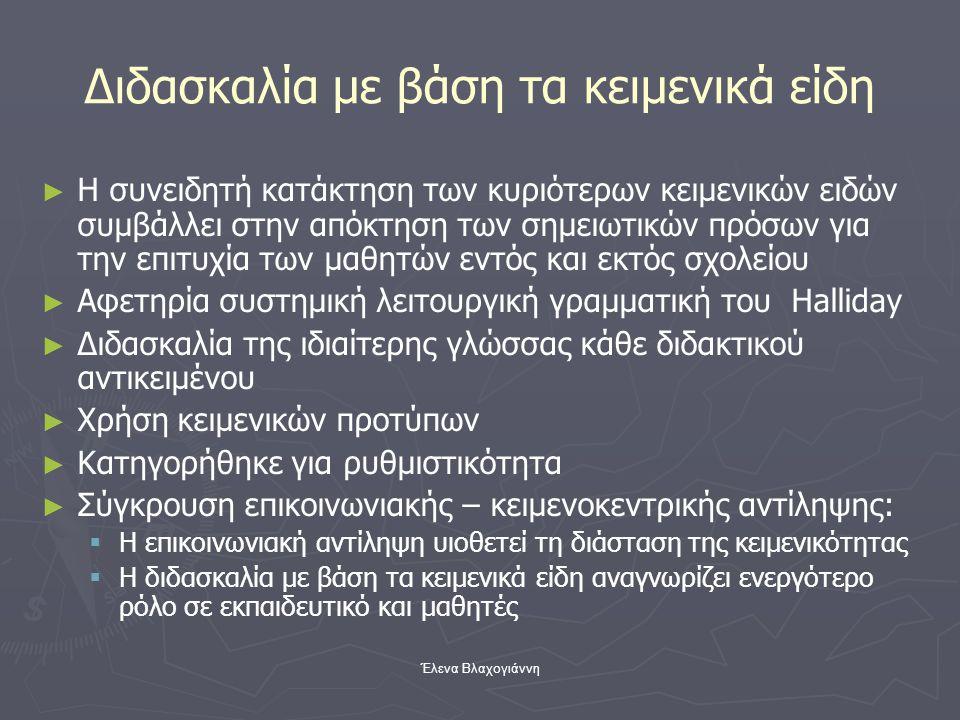 Έλενα Βλαχογιάννη Διδασκαλία με βάση τα κειμενικά είδη ► ► Η συνειδητή κατάκτηση των κυριότερων κειμενικών ειδών συμβάλλει στην απόκτηση των σημειωτικ