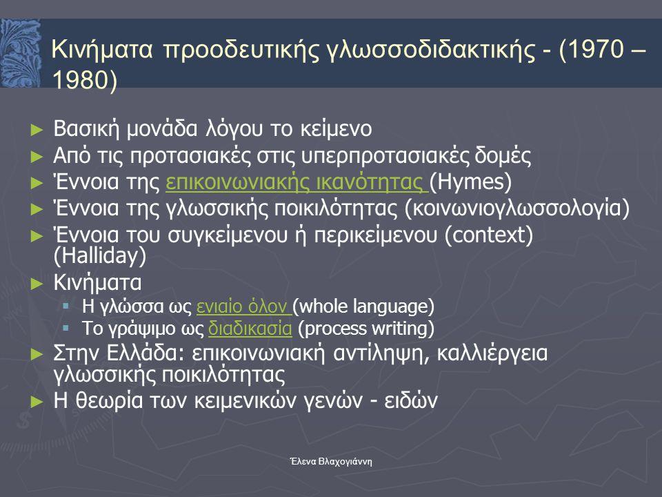 Έλενα Βλαχογιάννη ► ► Βασική μονάδα λόγου το κείμενο ► ► Από τις προτασιακές στις υπερπροτασιακές δομές ► ► Έννοια της επικοινωνιακής ικανότητας (Hyme