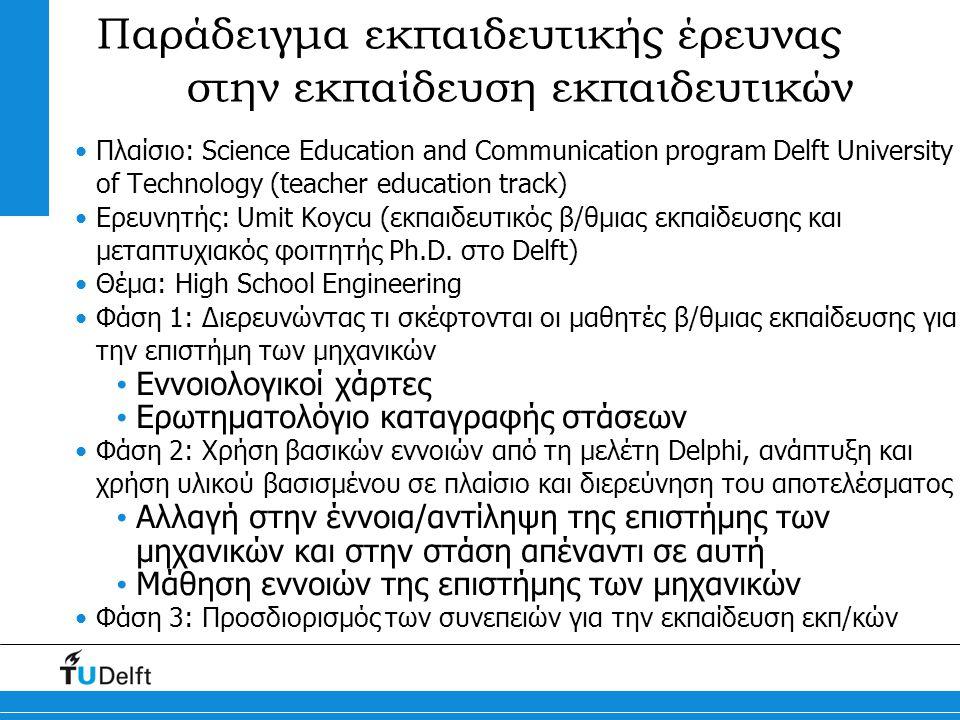 Παράδειγμα εκπαιδευτικής έρευνας στην εκπαίδευση εκπαιδευτικών Πλαίσιο: Science Education and Communication program Delft University of Technology (teacher education track) Ερευνητής: Umit Koycu (εκπαιδευτικός β/θμιας εκπαίδευσης και μεταπτυχιακός φοιτητής Ph.D.