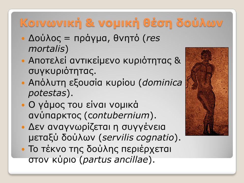 Κοινωνική & νομική θέση δούλων Δούλος = πράγμα, θνητό (res mortalis) Aποτελεί αντικείμενο κυριότητας & συγκυριότητας. Απόλυτη εξουσία κυρίου (dominica
