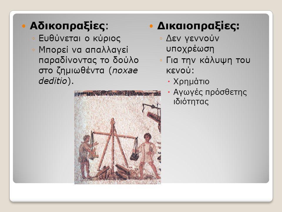 Αδικοπραξίες: ◦Ευθύνεται ο κύριος ◦Μπορεί να απαλλαγεί παραδίνοντας το δούλο στο ζημιωθέντα (noxae deditio). Δικαιοπραξίες: ◦Δεν γεννούν υποχρέωση ◦Γι