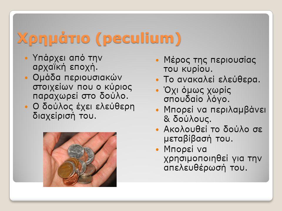 Χρημάτιο (peculium) Yπάρχει από την αρχαϊκή εποχή. Ομάδα περιουσιακών στοιχείων που ο κύριος παραχωρεί στο δούλο. Ο δούλος έχει ελεύθερη διαχείρισή το