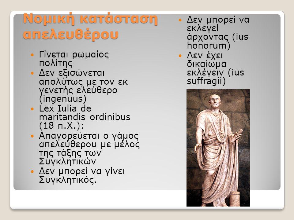Νομική κατάσταση απελευθέρου Γίνεται ρωμαίος πολίτης Δεν εξισώνεται απολύτως με τον εκ γενετής ελεύθερο (ingenuus) Lex Iulia de maritandis ordinibus (18 π.Χ.): Απαγορεύεται ο γάμος απελεύθερου με μέλος της τάξης των Συγκλητικών Δεν μπορεί να γίνει Συγκλητικός.