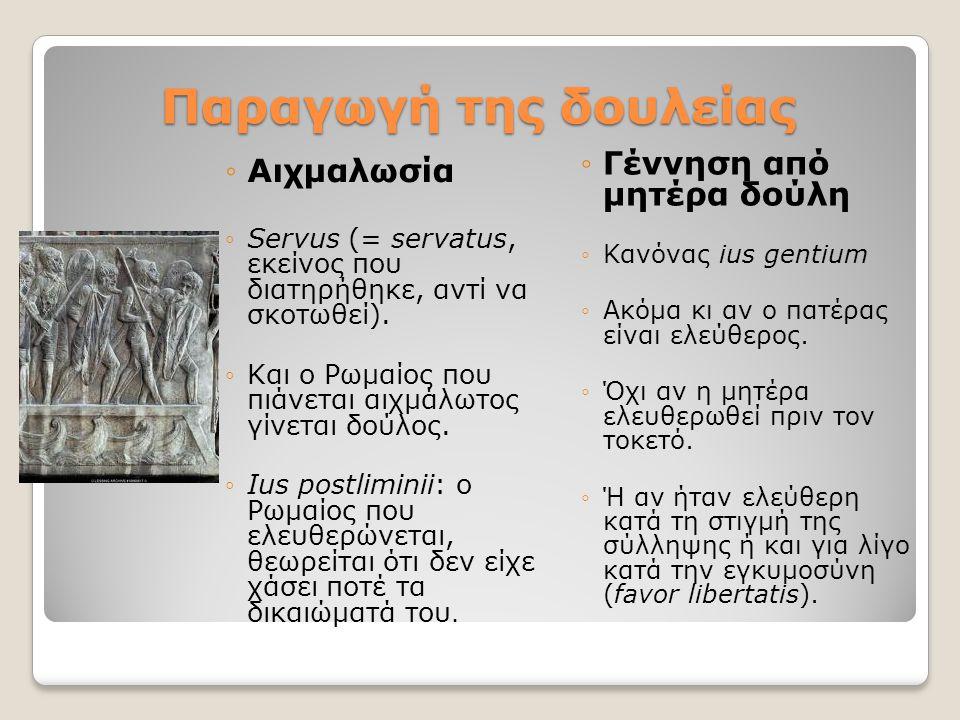 Παραγωγή της δουλείας ◦Αιχμαλωσία ◦Servus (= servatus, εκείνος που διατηρήθηκε, αντί να σκοτωθεί). ◦Και ο Ρωμαίος που πιάνεται αιχμάλωτος γίνεται δούλ