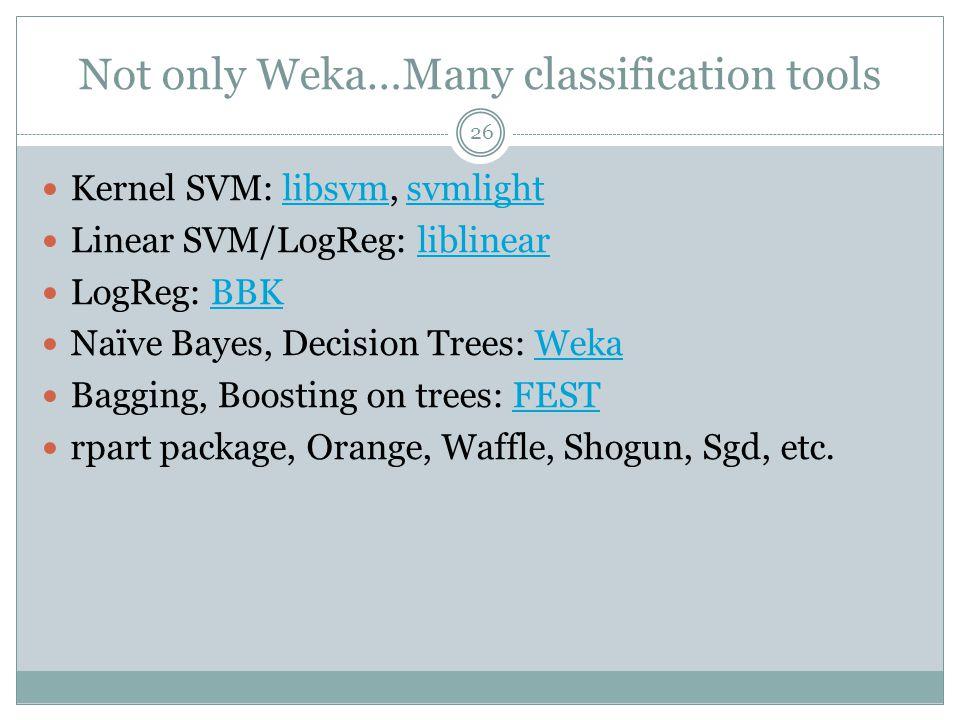 Not only Weka…Many classification tools Kernel SVM: libsvm, svmlightlibsvmsvmlight Linear SVM/LogReg: liblinearliblinear LogReg: BBKBBK Naïve Bayes, D