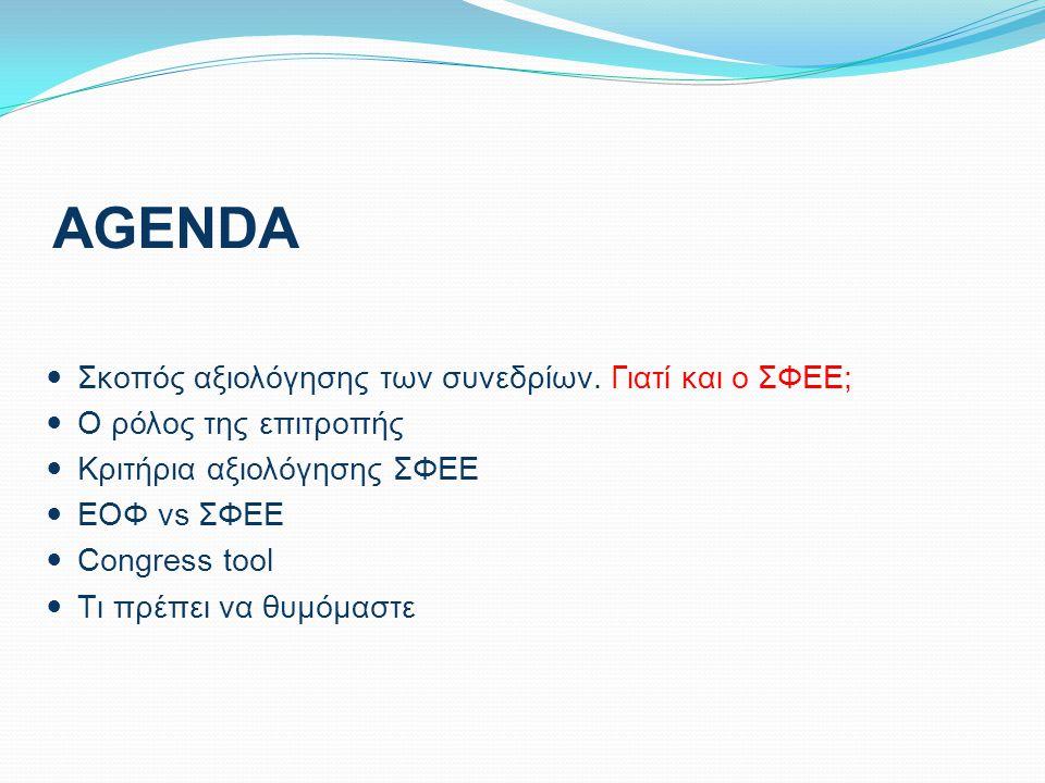 AGENDA Σκοπός αξιολόγησης των συνεδρίων. Γιατί και ο ΣΦΕΕ; Ο ρόλος της επιτροπής Κριτήρια αξιολόγησης ΣΦΕΕ ΕΟΦ vs ΣΦΕΕ Congress tool Tι πρέπει να θυμό