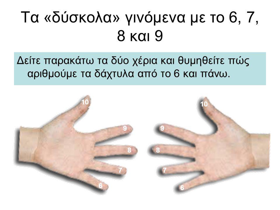 Τα «δύσκολα» γινόμενα με το 6, 7, 8 και 9 Δείτε παρακάτω τα δύο χέρια και θυμηθείτε πώς αριθμούμε τα δάχτυλα από το 6 και πάνω. 10 9 6 8 7 9 8 7 6