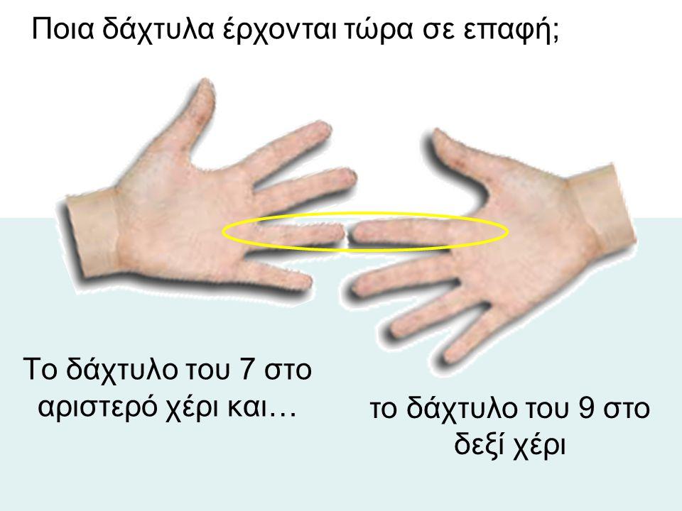 Το δάχτυλο του 7 στο αριστερό χέρι και… το δάχτυλο του 9 στο δεξί χέρι Ποια δάχτυλα έρχονται τώρα σε επαφή;