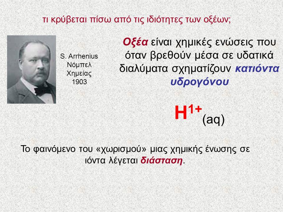 τι κρύβεται πίσω από τις ιδιότητες των οξέων; S. Arrhenius Νόμπελ Χημείας 1903 Οξέα είναι χημικές ενώσεις που όταν βρεθούν μέσα σε υδατικά διαλύματα σ