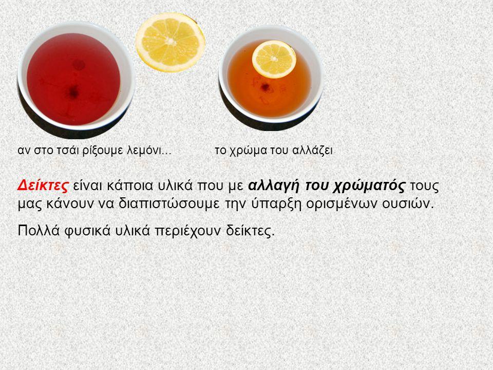 αν στο τσάι ρίξουμε λεμόνι... το χρώμα του αλλάζει Δείκτες είναι κάποια υλικά που με αλλαγή του χρώματός τους μας κάνουν να διαπιστώσουμε την ύπαρξη ο