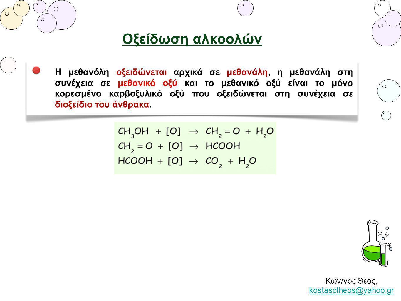 Κων/νος Θέος, kostasctheos@yahoo.gr kostasctheos@yahoo.gr Οξείδωση αλκοολών Η μεθανόλη οξειδώνεται αρχικά σε μεθανάλη, η μεθανάλη στη συνέχεια σε μεθα