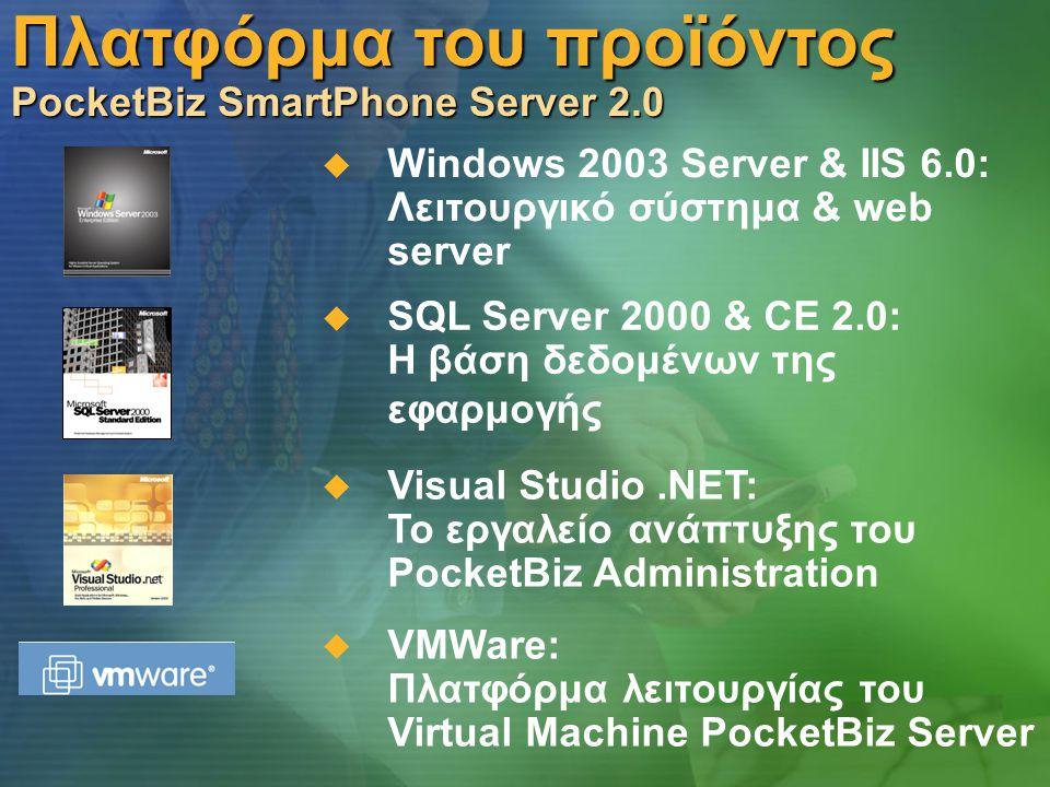 Πλατφόρμα του προϊόντος PocketBiz SmartPhone Server 2.0  Windows 2003 Server & IIS 6.0: Λειτουργικό σύστημα & web server  SQL Server 2000 & CE 2.0: Η βάση δεδομένων της εφαρμογής  VMWare: Πλατφόρμα λειτουργίας του Virtual Machine PocketBiz Server  Visual Studio.ΝΕΤ: Το εργαλείο ανάπτυξης του PocketBiz Administration