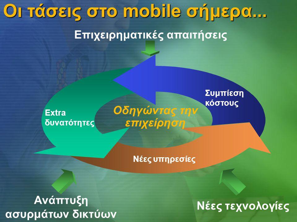 Επιχειρηματικές απαιτήσεις Ανάπτυξη ασυρμάτων δικτύων Νέες τεχνολογίες Νέες υπηρεσίες Extra δυνατότητες Οδηγώντας την επιχείρηση Οι τάσεις στο mobile σήμερα...