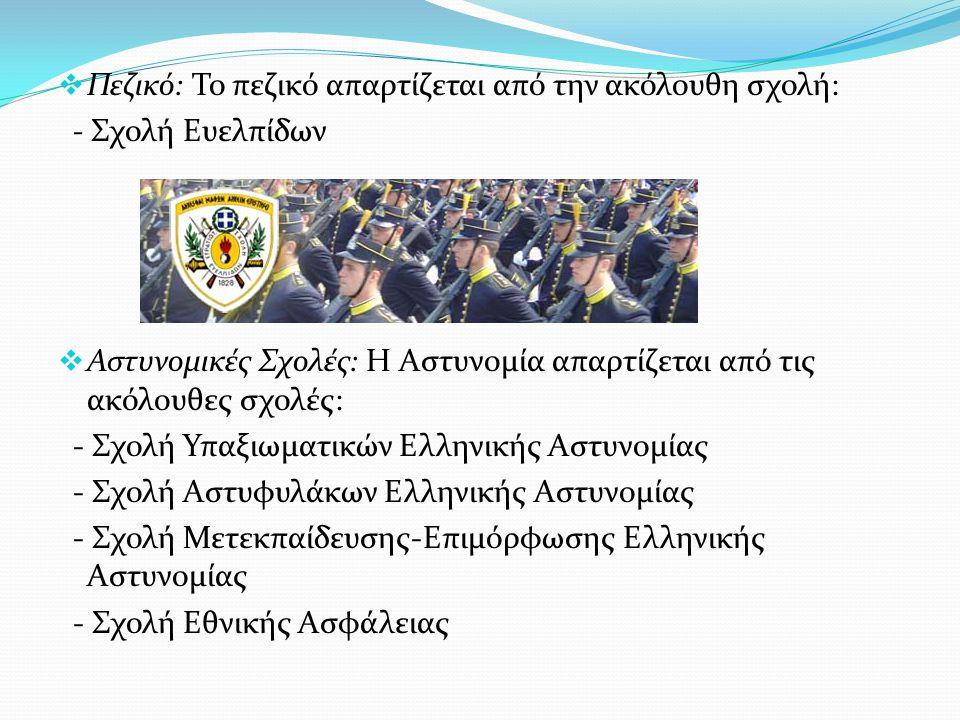  Πεζικό: Το πεζικό απαρτίζεται από την ακόλουθη σχολή: - Σχολή Ευελπίδων  Αστυνομικές Σχολές: Η Αστυνομία απαρτίζεται από τις ακόλουθες σχολές: - Σχ