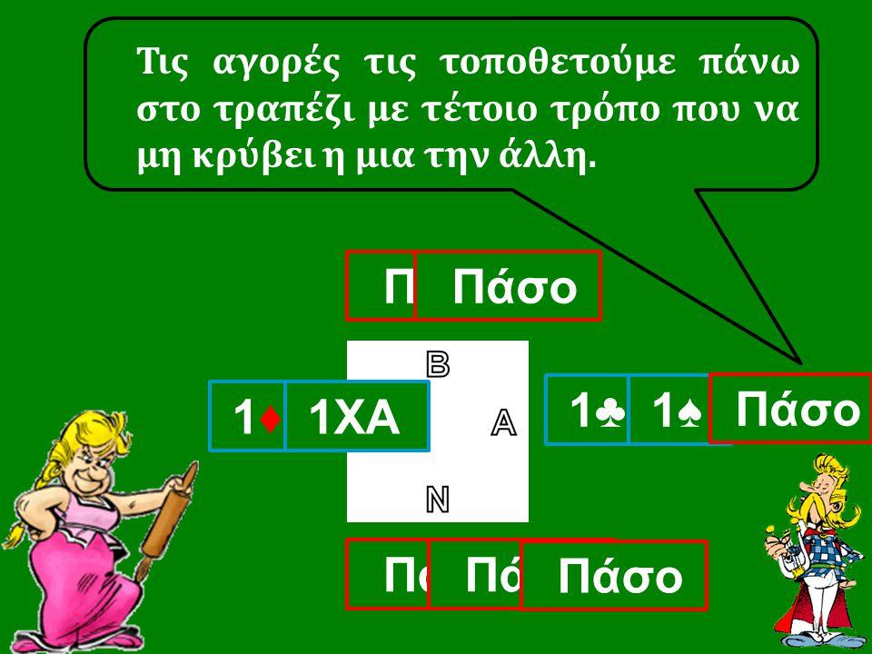 1♣ Πάσο 1♦ 1♦ Τις αγορές τις τοποθετούμε πάνω στο τραπέζι με τέτοιο τρόπο που να μη κρύβει η μια την άλλη. 1♠ 1♠ Πάσο 1ΧΑ Πάσο