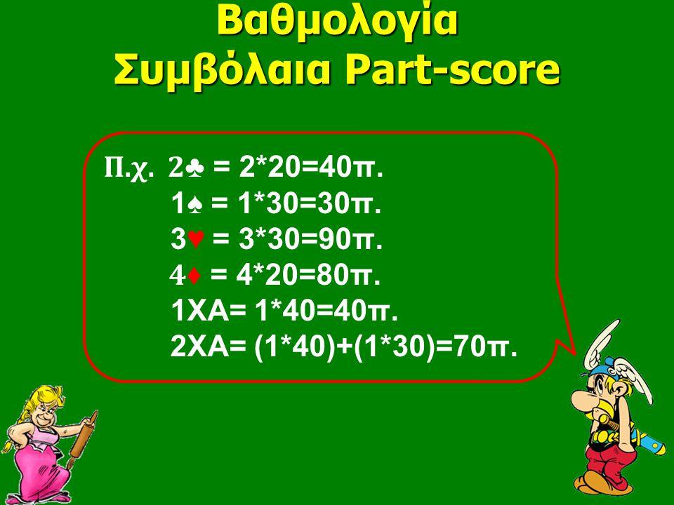 Βαθμολογία Συμβόλαια Part-score Π.χ. 2 ♣ = 2*20=40π. 1♠ = 1*30=30π. 3♥ = 3*30=90π. 4 ♦ = 4*20=80π. 1ΧΑ= 1*40=40π. 2ΧΑ= (1*40)+(1*30)=70π.