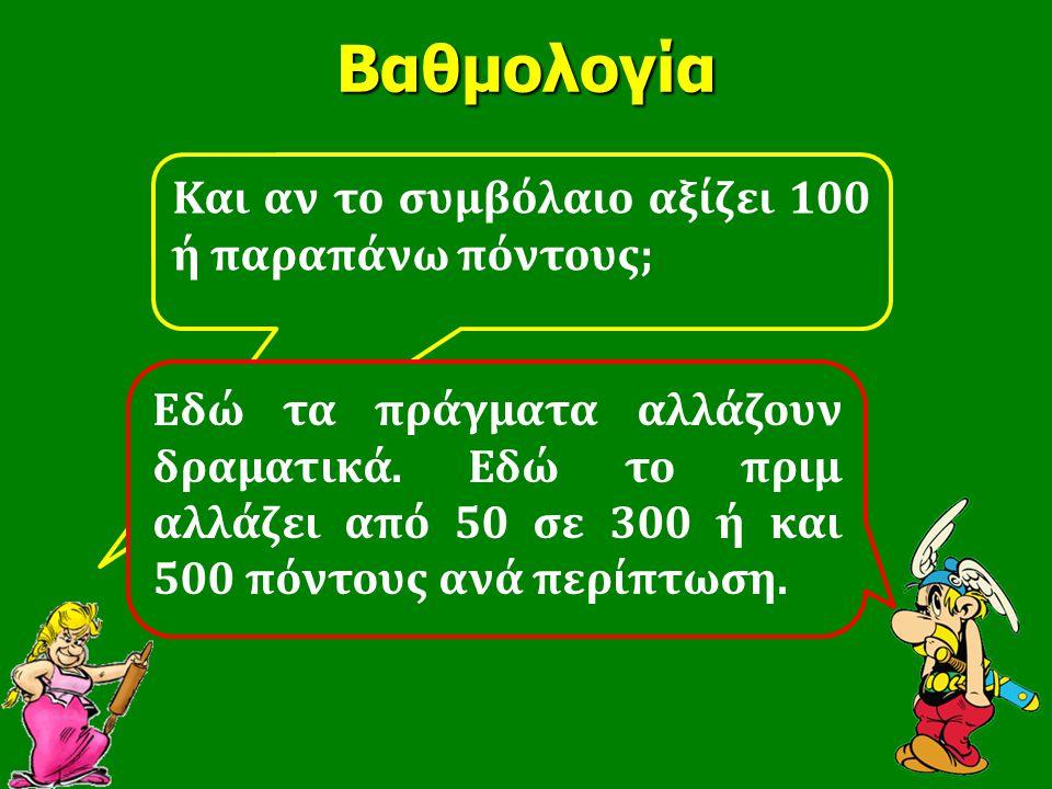 Kαι αν το συμβόλαιο αξίζει 100 ή παραπάνω πόντους;Βαθμολογία Εδώ τα πράγματα αλλάζουν δραματικά. Εδώ το πριμ αλλάζει από 50 σε 300 ή και 500 πόντους α
