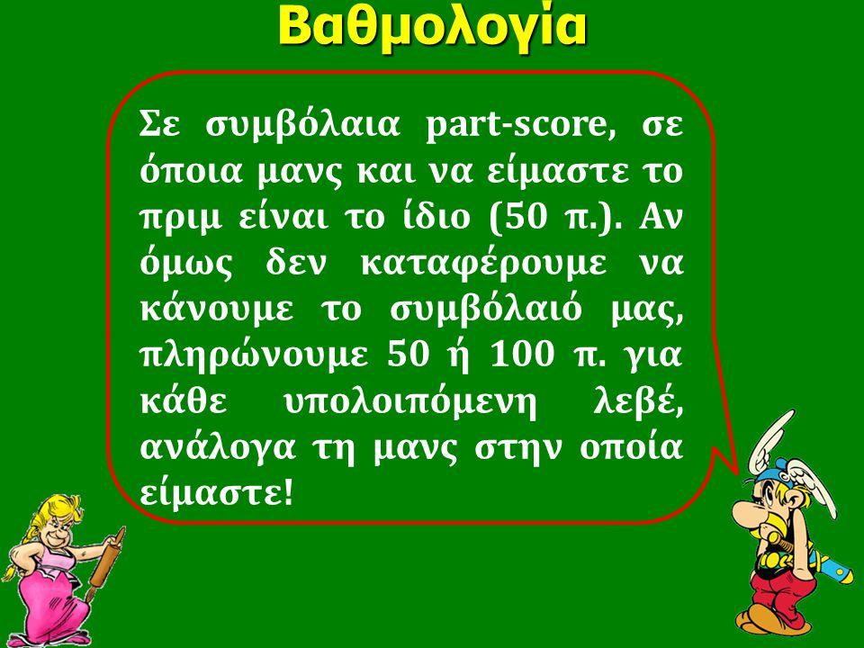 Βαθμολογία Σε συμβόλαια part-score, σε όποια μανς και να είμαστε το πριμ είναι το ίδιο (50 π.). Αν όμως δεν καταφέρουμε να κάνουμε το συμβόλαιό μας, π