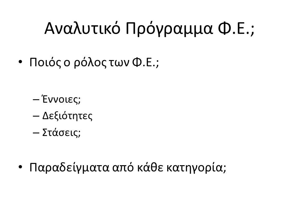 Αναλυτικό Πρόγραμμα Φ.Ε.; Ποιός ο ρόλος των Φ.Ε.; – Έννοιες; – Δεξιότητες – Στάσεις; Παραδείγματα από κάθε κατηγορία;