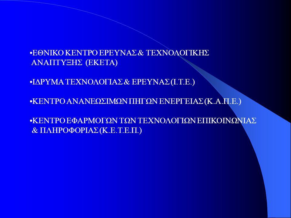 ΕΘΝΙΚΟ ΚΕΝΤΡΟ ΕΡΕΥΝΑΣ & ΤΕΧΝΟΛΟΓΙΚΗΣ ΑΝΑΠΤΥΞΗΣ (ΕΚΕΤΑ) ΙΔΡΥΜΑ ΤΕΧΝΟΛΟΓΙΑΣ & ΕΡΕΥΝΑΣ (Ι.Τ.Ε.) ΚΕΝΤΡΟ ΑΝΑΝΕΩΣΙΜΩΝ ΠΗΓΩΝ ΕΝΕΡΓΕΙΑΣ (Κ.Α.Π.Ε.) ΚΕΝΤΡΟ ΕΦΑΡ