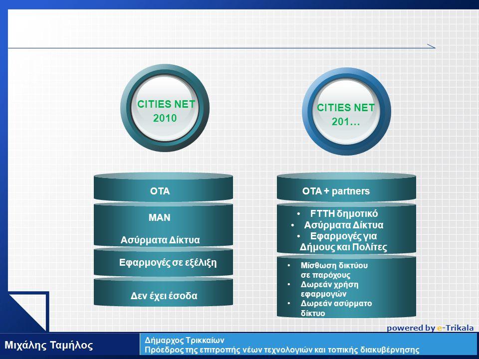 LOGO Δεν έχει έσοδα CITIES NET 2010 ΟΤΑ ΜΑΝ Ασύρματα Δίκτυα Εφαρμογές σε εξέλιξη CITIES NET 201… ΟΤΑ + partners FTTH δημοτικό Ασύρματα Δίκτυα Εφαρμογές για Δήμους και Πολίτες Μίσθωση δικτύου σε παρόχους Δωρεάν χρήση εφαρμογών Δωρεάν ασύρματο δίκτυο powered by e-Trikala