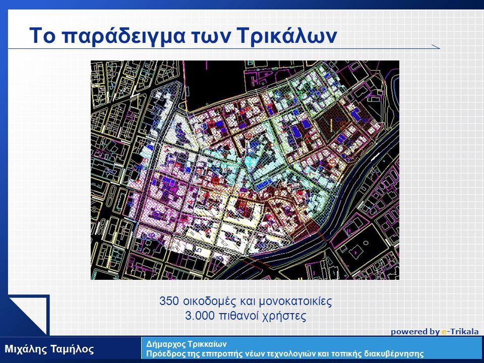 LOGO Το παράδειγμα των Τρικάλων www.themegallery.com 350 οικοδομές και μονοκατοικίες 3.000 πιθανοί χρήστες powered by e-Trikala