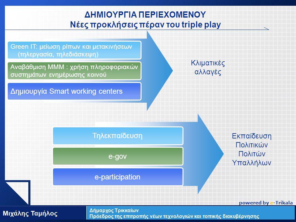LOGO ΔΗΜΙΟΥΡΓΙΑ ΠΕΡΙΕΧΟΜΕΝΟΥ Νέες προκλήσεις πέραν του triple play Green IT: μείωση ρίπων και μετακινήσεων (τηλεργασία, τηλεδιάσκεψη) Αναβάθμιση ΜΜΜ : χρήση πληροφοριακών συστημάτων ενημέρωσης κοινού Δημιουργία Smart working centers Κλιματικές αλλαγές Τηλεκπαίδευση e-gov e-participation Εκπαίδευση Πολιτικών Πολιτών Υπαλλήλων powered by e-Trikala