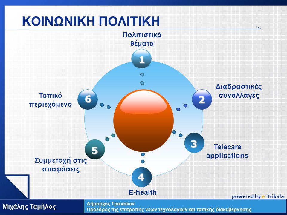 LOGO ΚΟΙΝΩΝΙΚΗ ΠΟΛΙΤΙΚΗ 1 2 6 Τοπικό περιεχόμενο Πολιτιστικά θέματα Telecare applications Συμμετοχή στις αποφάσεις E-health 4 5 3 Διαδραστικές συναλλαγές powered by e-Trikala
