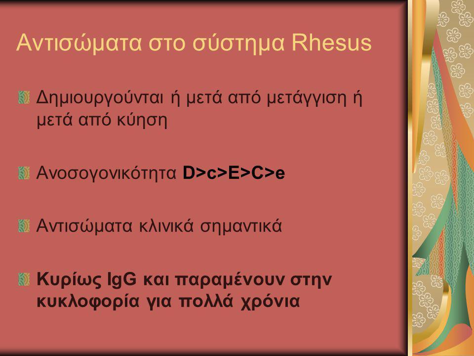 Αντισώματα στο σύστημα Rhesus Δημιουργούνται ή μετά από μετάγγιση ή μετά από κύηση Ανοσογονικότητα D>c>E>C>e Αντισώματα κλινικά σημαντικά Κυρίως IgG κ