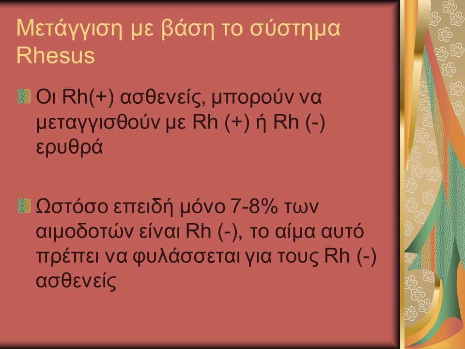 Μετάγγιση με βάση το σύστημα Rhesus Οι Rh(+) ασθενείς, μπορούν να μεταγγισθούν με Rh (+) ή Rh (-) ερυθρά Ωστόσο επειδή μόνο 7-8% των αιμοδοτών είναι R